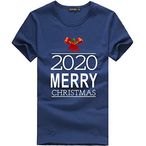 Shirts Top T-Shirt Herren Party Lässig Weihnachten Bedruckt Rundhals Kurzarm Bluse (S,3- Marine)