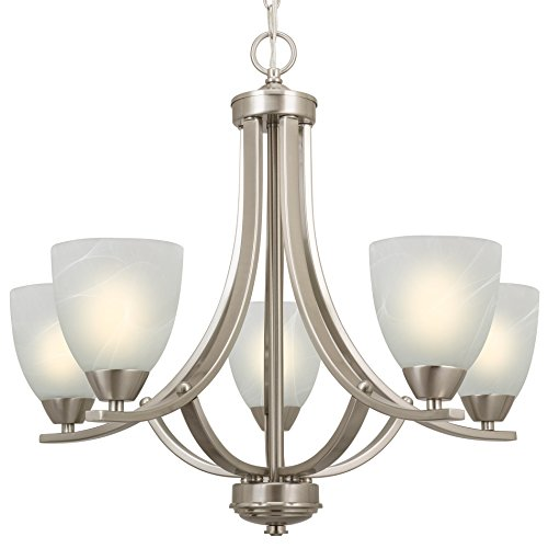Kira Home Weston 24' Contemporary 5-Light Large Chandelier + Alabaster Glass...