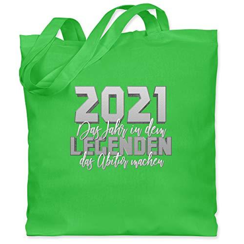 Shirtracer Abi & Abschluss - 2021 Das Jahr in dem Legenden das Abitur machen - Unisize - Hellgrün - Statement - WM101 - Stoffbeutel aus Baumwolle Jutebeutel lange Henkel