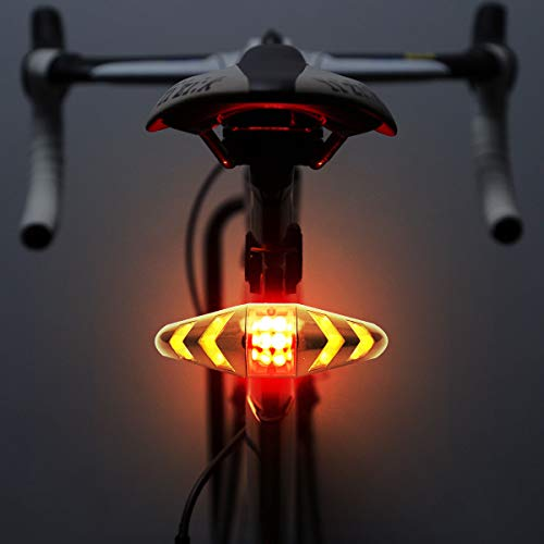 Maso Rechargeable Bike Tail Light LED Bike Rear Turn Signal Lights with Wireless Remote Control Multifunctional Modes Waterproof Cycling Warning Light for Mountain Bike, Road Bicycle