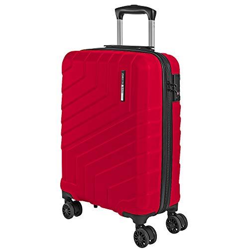 Valigia Trolley da Viaggio Rigida - Idonea Ryanair e Easyjet 55x40x20 cm 35 Litri- Bagaglio a Mano Ultra Leggero in ABS con Chiusura TSA e 4 Ruote Doppie Girevoli - Perletti Travel (Rosso, S)