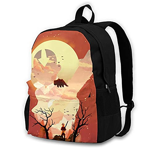 Avatar Aang Silhouette Adult Backpack Unisex Polyester Casual Backpacks Travel School Game Bag