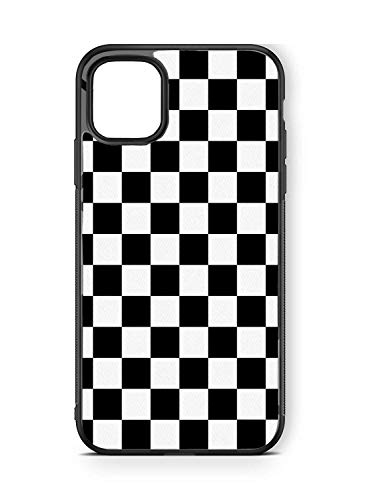 Hng Kiang Hu Compatible for for iPhone 12 Pro Max Case 6.7 inch, Black White Checkered Flag Checkers Tempered Glass Gift Case (for iPhone 12 Pro Max)