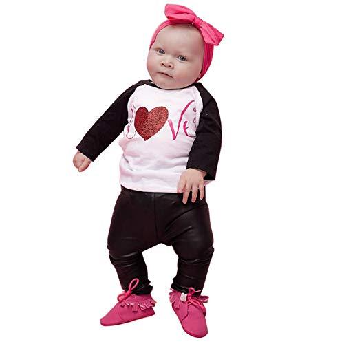 Ropa para Niños Conjuntos Estampado de Corazón de Amor Niño Camiseta de Manga Larga Tops + Pantalones de Cuero Ropa Bebe Recien Nacido Niña (Negro, 6-12 Meses)