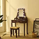 Fineboard, Brown Makeup Vanity Set Dressing Table with Stool LED Lights Mirror with 5 Drawers