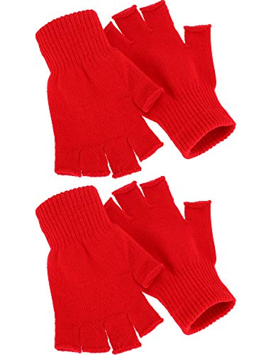 Satinior 2 Pair Unisex Half Finger Gloves Winter Stretchy Knit Fingerless Gloves in Common Size (Red)
