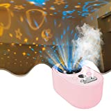 Ultrasonic Humidifier With Star Night Light Projector for Kids Room, Cool Mist Humidifiers for Bedroom, 1L Mini Humidifier with Dual Mists for Kids, Babies, Home, Office, Automatic Shut-Off (Pink)