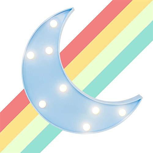 AOK DOOR Veilleuse LED Enfant Veilleuse De Nuit Bebe Accueil Décoration Lumières pour Mur Veilleuses pour Enfants Lampes pour La Maison Décoration Moon Blue