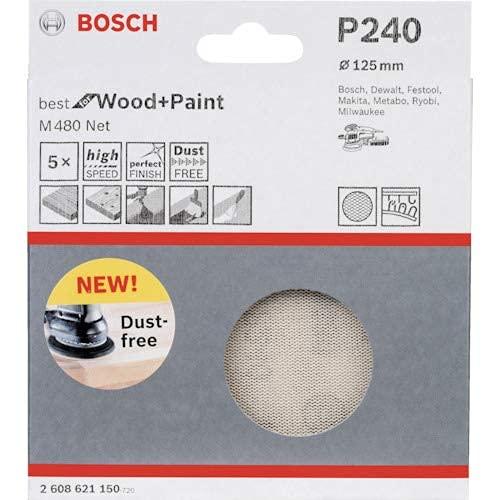 Bosch Professional 5 Stück Schleifblatt M480 NET Best for Wood and Paint (Holz und Farbe, Ø 125 mm, Körnung P240, Zubehör Exzenterschleifer)