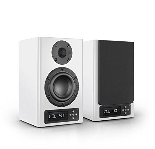 Nubert nuPro A-100 Regallautsprecherpaar | Lautsprecher für Stereo & Musik | Heimkino & HiFi Qualität auf hohem Niveau | aktive Regalboxen mit 2 Wege Technik | Kompaktlautsprecherset Weiß | 2 Stück