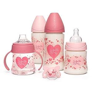 Suavinex, Pack Ahorro Little Star 4 biberones + Chupete -2-4 meses, Rosa