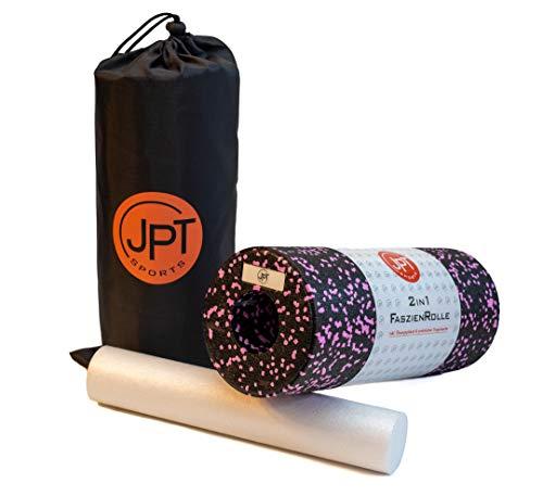 JPTsports 2in1 Faszien-Rolle inkl. eBook & praktischer Tragetasche | hochwertige Massagerolle für Rücken, Beine, Wirbelsäule | Foam-Roller für Faszien-Training (Schwarz/Pink)