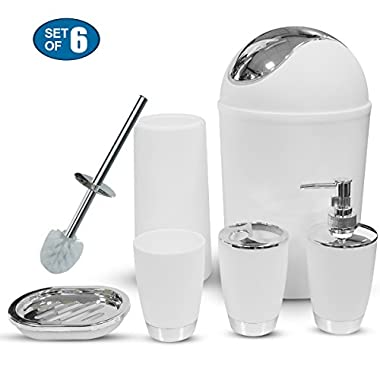 Bathroom Accessories Sets Complete, 6 Piece Luxury Bath Accessory Sets,Lotion Dispenser, Toothbrush Holder, Bathroom Tumblers, Soap Dish, Trash Can, Toilet Brush Set(White)