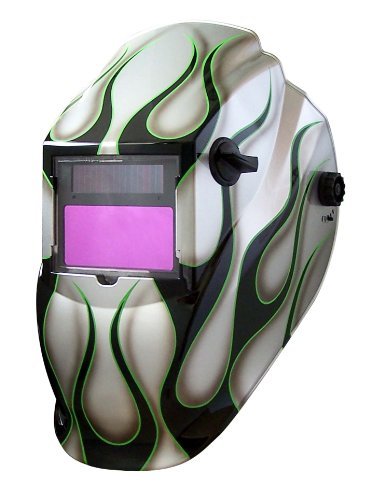 Metal Man ASF8700SG 9-13 Variable Shade Professional Auto-Darkening Welding Helmet, Silver Flame Pattern
