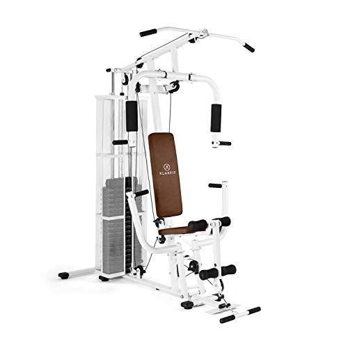KLAR FIT Ultimate Gym Power - Stazione Fitness Multifunzionale, Power Station, Palestra per Allenamento di Tutto Il Corpo, Inclusi Pesi, 30 Esercizi Diversi, Bianco Antico