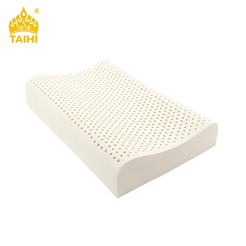 TAIHI Natural Latex Pillow, Firm Sleeping Foam, Cervical Spine Care, Reduce Snoring, Relieve Neck & Shoulder Pain, Luxurious Washable Cotton Cover, Side Back Sleeper, Eco-Institute Certified
