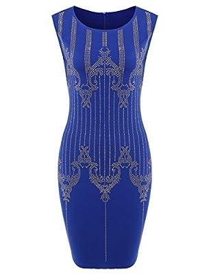 ANGVNS Women's 1920S Paisley Art Deco Sequin Tassel Glam Party Gatsby Dress