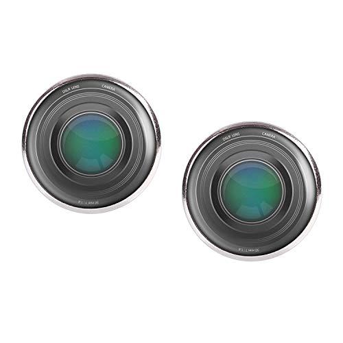 Paire de boucles d oreilles avec motif lentille reflex numérique lentille appareil photo numérique argent 16mm