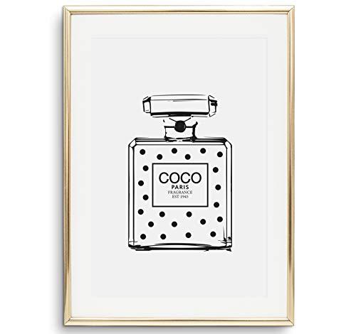 Tales by Jen Kunstdruck, Sprüche Poster: Coco Dotted Perfume Bottle | Stilvolles Premium Poster auf hochwertigem Papier | Moderne Wand Deko, schwarz weißes Fashion Wohnaccessoires | Ohne Bilderrahmen