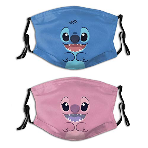 2Pcs Adults Windproof Breathable Masks Reusable Soft Lilo and Stitch Face Mask Balaclava Adjustable Ear Loops Dust Face Covers Gifts