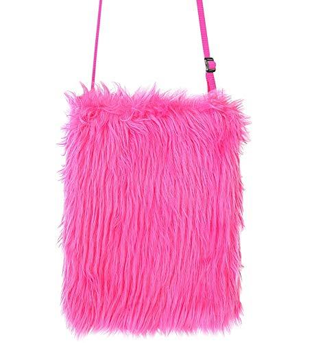 Das Kostümland Neon Plüsch Handtasche - Pink