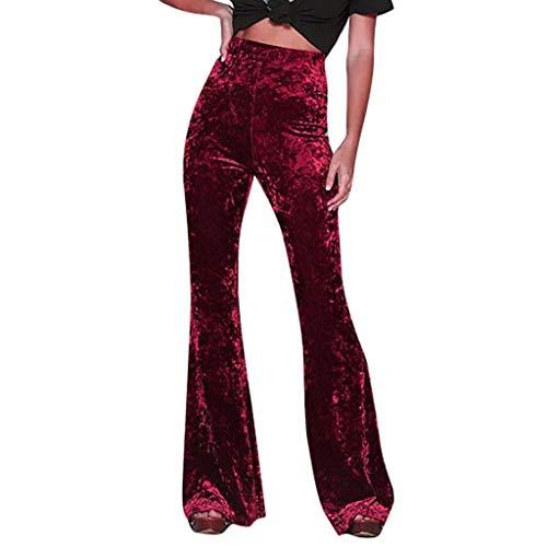 OYSOHE Damen Samt Schlaghose Warm Winter Hosen Hohe Taille Einfarbig Weite Hose Frauen Freizeithosen(Rot,L)