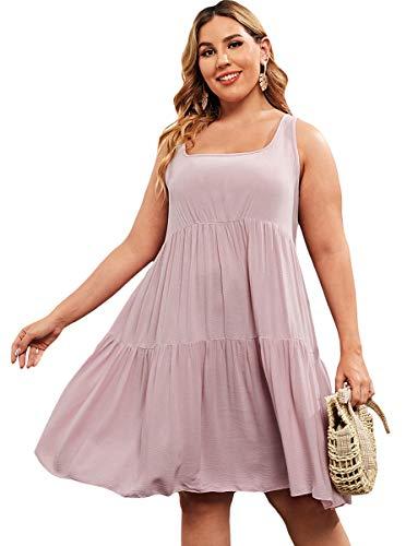 Romwe Women's Plus Size Summer Sundress Sleeveless Loose Casual T-Shirt Tank Dress Dusty Pink 2XL