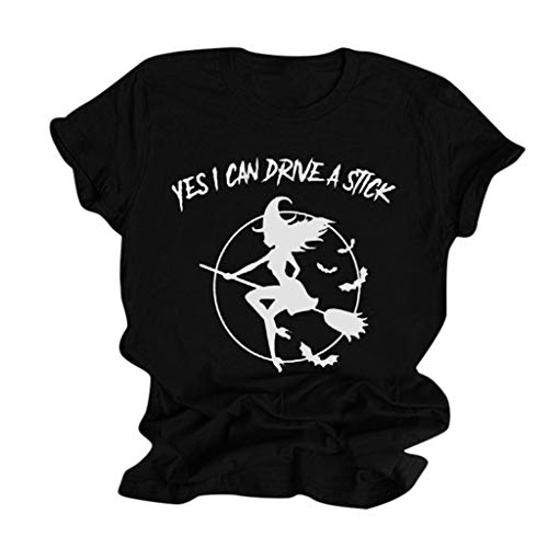 Yes I Can Drive a Stick Womens Short Sleeve Halloween Flying Witch Graphic O-neck Tops Casual Teen Girls Cool Costume Black