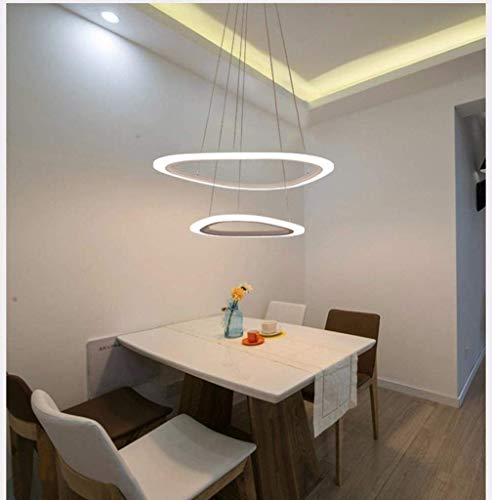Ringen hanglampen LED kroonluchter eenvoudige ovale ring acryl hanglamp eettafel kroonluchter restaurant woonkamer verstelbare hanglamp (kleur: wit Light-3RING (64 + 43 + 25 cm))