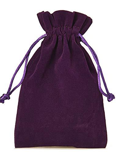 organzabeutel24 | 12 Samtsäckchen, Größe 15x10 cm, Samtbeutel-Geschenkverpackung, Adventskalender, Nikolausverpackung, Weihnachtsverpackung (Violett)