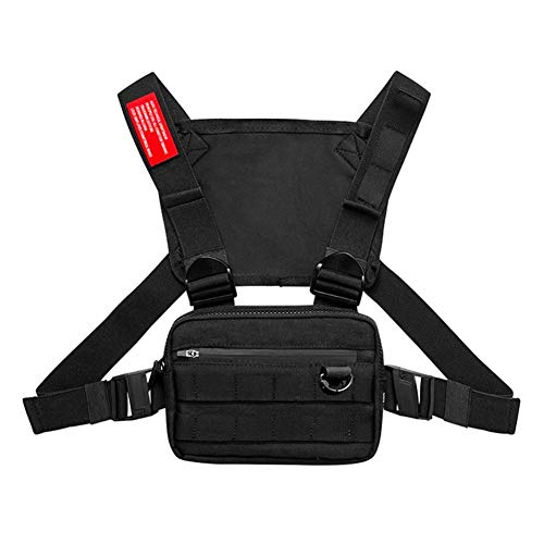 EFINNY Men Chest Riñonera Riñonera Chest Pack Función Hip Hop Chest Rig Pack Casual Moda Running Mochila Senderismo Senderismo