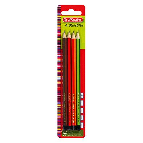 HERLITZ Lot de 4 crayons papier, hexagonal, assorti dureté H, HB, B et 2B
