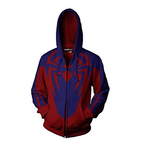 Sudadera con Capucha y Cremallera Spider-Man Impresión 3D Top Base Layer Gym Manga Larga Unisex Spiderman Hooded Miles Morales para Halloween Carnival Festival-3XL