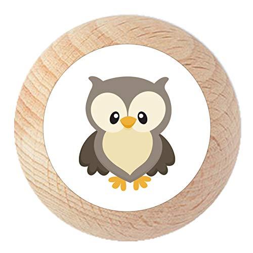 Möbelknauf Eule natur klar lackiert Holz Kinder Kinderzimmer 1 Stück Waldtiere