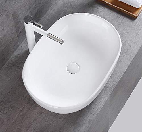 1x Keramikwaschbecken oval groß Aufsatz Waschbecken Keramik 49x35x13,5cm