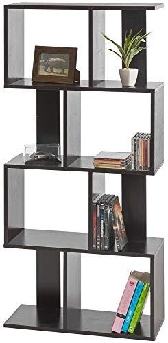 ts-ideen Libreria Mensoliera 130x60 cm color Nero effetto Legno con 8 vani