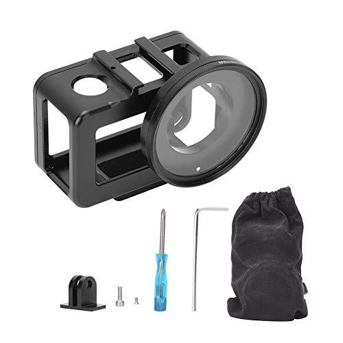 awstroe Rahmengehäuse Gehäuse aus Aluminiumlegierung Schutzrahmenschale für DJI Osmo Action mit Objektivdeckel 52 mm UV-Objektivzubehör