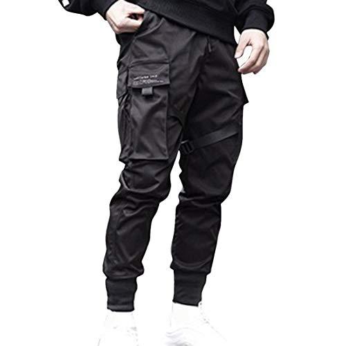 Hombres Pantalones de Carga,Pantalón Cargo Casuales,Pantalones de Hip Hop,Pantalones de Combate Holgados, Pantalone de Trabajo,Pants Sueltos Ocasionales (Negro Plus, L)