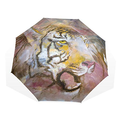 XiangHeFu Paraguas Tiger Painting 3 Pliegues Ligero Anti-UV