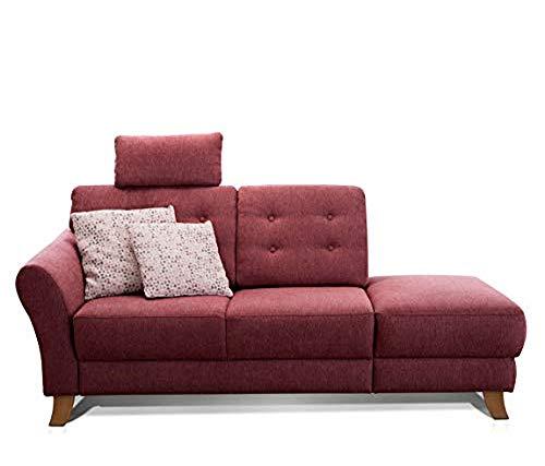 Cavadore Recamiere Trond mit Federkern / Modernes Sofa im Landhausstil mit Armteil links / Inkl. Kopfstütze und Rückenkissen / 194 x 89 x 92 / Flachgewebe rot