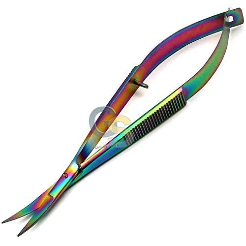 "G.S Embroidery Sewing Scissor - Titanium Spring Action Scissor 4.5"" - German Grade Stainless Steel, Curved Tip, Snips, Thread Scissor - Best Quality"