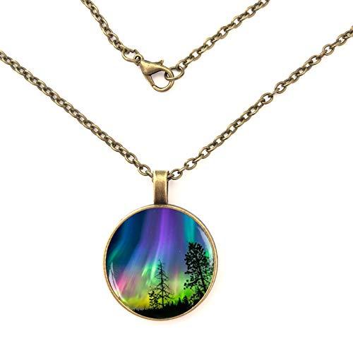 Nordlicht Aurora Borealis Glaskuppelkette Anhänger Halskette Schmuck