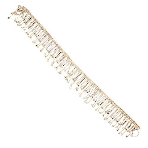 Tnfeeon Rhinestone Borla Cadena Fringe Apliques Nupciales Recorte Cristal Ropa Bolsa Decoración 36in(Dorado AB Colorido)