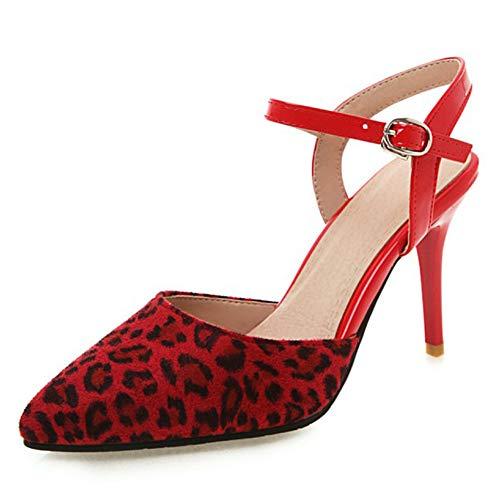 Vrouwen Mode Puntschoen Hoge Pumps Sexy Slip Stiletto Party Schoenen Slingback Hof Schoenen Gesloten Teen Enkelbandje Hoge Hak Pompen 30-48,Red,41