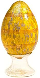 YourMurano Huevo de Cristal de Murano, Color Amarillo y Naranja, Detalles de Madreperla, Escultura en Forma de Huevo, Pascua, Escultura Hecha a Mano, Marca de Origen Garantizada, Ace