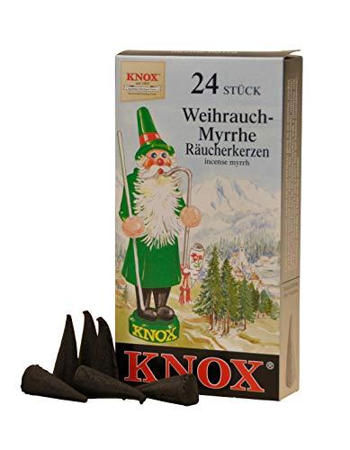 Knox 013120 - Räucherkerzen Weihrauch-Myrrhe, 24 Stück, Weihnachten, Duftkegel, Räucherkegel