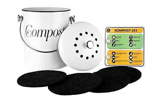 Chefarone Komposteimer mit Deckel Küche 5L - Biomülleimer Küche Vintage Look - Kompost Bio Mülleimer inkl 2 Ersatzfilter verbannt unangenehme Gerüche - Bioabfallbehälter 21 x 29cm (Weiß)