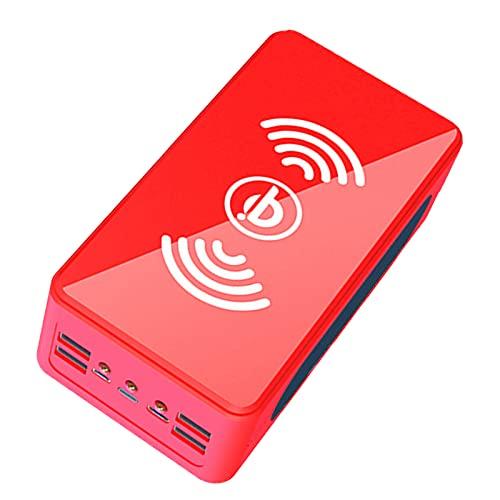 AEU 40000mAh Banco de Energía Solar, Cargador Solar portátil Cargador inalámbrico Qi, 4 Modo Iluminación con 4 Outputs Power Bank para iPad, Samsung y Viajes Cámping,Rojo,60000MAH