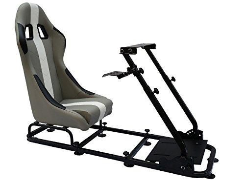 FK-Automotive Game Seat Spielsitz für PC und Spielekonsolen Kunstleder grau/weiß