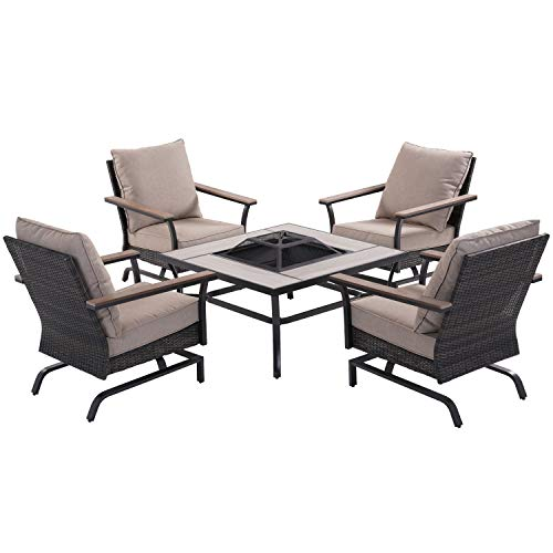 Grand patio 5 Piece Outdoor Furniture Conversation Set, Cushion Rocking Chairs with 32 Inch Propane Gas Fire Pit Table